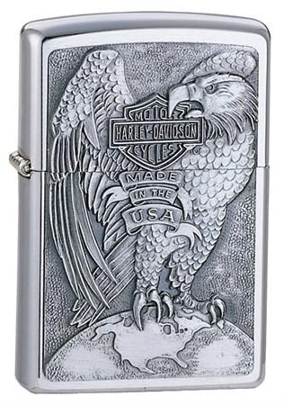Широкая зажигалка Zippo H-D Eagle & Globe 200HD H231 - фото 4518