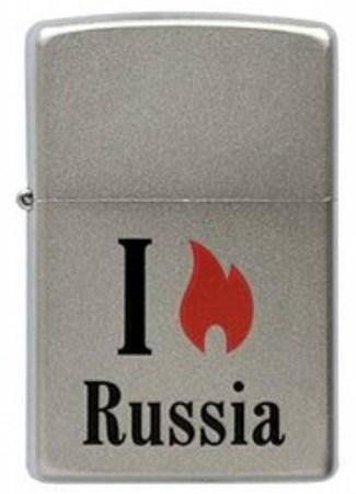 Широкая зажигалка Zippo Satin Chrome 205 Flame Russia - фото 4528