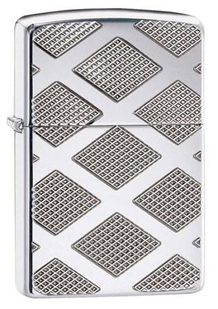 Широкая зажигалка Zippo Armor Carved Diamond 28637 - фото 4740