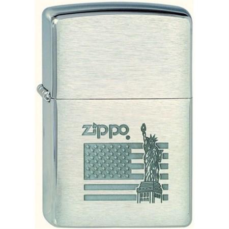 Широкая зажигалка Zippo Flag&Statue 205 - фото 5245