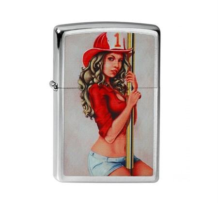 Широкая зажигалка Zippo PinUp Firegirl 205 - фото 5282