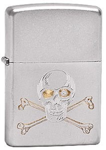Широкая зажигалка Zippo Skull crossbones 205 - фото 5296