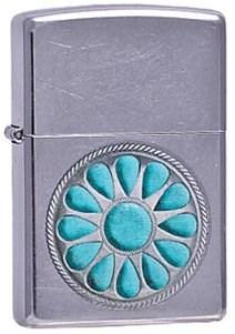 Широкая зажигалка Zippo Turquoise design 236 - фото 5380