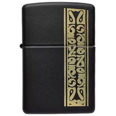 Широкая зажигалка Zippo Black/brass 218 - фото 5462