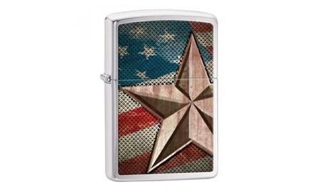 Широкая зажигалка Zippo Retro star 28653 - фото 5980