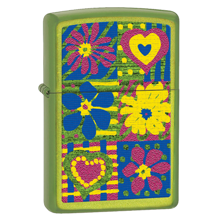 Широкая зажигалка Zippo Hearts and flowers 28057 - фото 6080