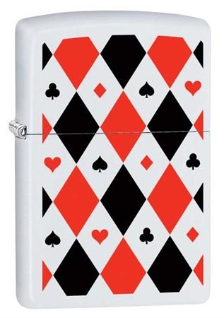 Широкая зажигалка Zippo Poker Patterns с покрытием White Matte, латунь/сталь, белая, 36x12x56 мм 291 - фото 6100