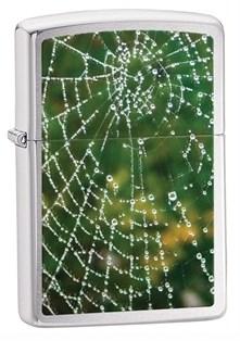 Широкая зажигалка Zippo Spider Web Rain Drops 28285 - фото 6109