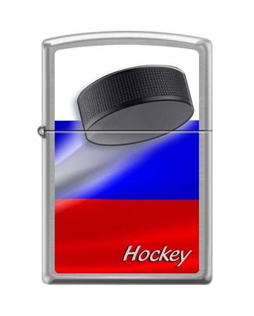 Широкая зажигалка Zippo RUSSIAN HOCKEY PUCK 200 - фото 6569