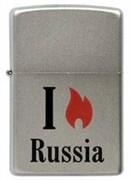 Широкая зажигалка Zippo Satin Chrome 205 Flame Russia