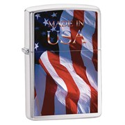 Широкая зажигалка Zippo Made Im Usa Flag 24797