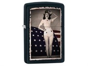 Широкая зажигалка Zippo Flag & Woman 28533