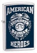 Широкая зажигалка Zippo American Herro Police 24353