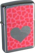 Широкая зажигалка Zippo Pink Hearts 200