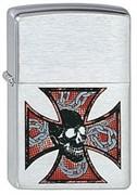 Широкая зажигалка Zippo Skull&Cross 200
