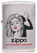 """Широкая зажигалка Zippo Лозунг 1 """"Не откажет никогда"""" 200"""