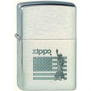 Широкая зажигалка Zippo Flag&Statue 205