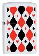Широкая зажигалка Zippo Poker Patterns с покрытием White Matte, латунь/сталь, белая, 36x12x56 мм 291