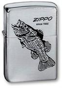 Широкая зажигалка Zippo BLACK BASS 200