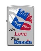 Широкая зажигалка Zippo WITH LOVE FROM RUSSIA 205