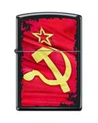 Широкая зажигалка Zippo SOVIET FLAG SICKLE 218