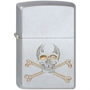 Широкая зажигалка Zippo Skull gold 205