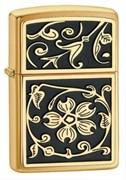 Зажигалка широкая Zippo Gold Floral Flush 20903