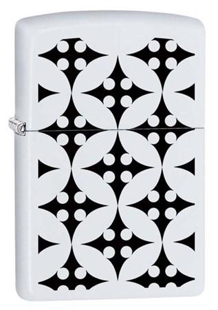 Широкая зажигалка Zippo с покрытием White Matte 214 ThrowingStars - фото 4557