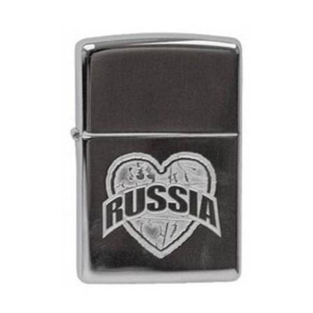 Широкая зажигалка Zippo I Love Russia 250 I Love Russia - фото 4615