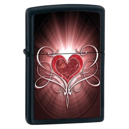 Широкая зажигалка Zippo Love Heart Black Matte 28043 - фото 4631