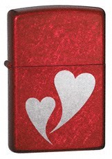 Широкая зажигалка Zippo Double Hearts 24183 - фото 4868