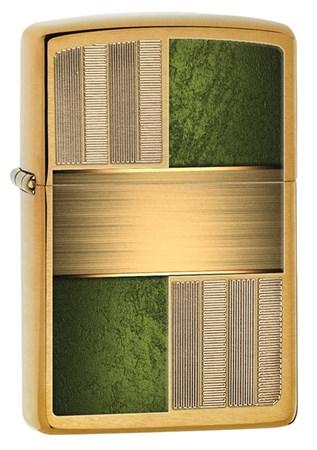 Широкая зажигалка Zippo Emerald Square Design 28796 - фото 4871