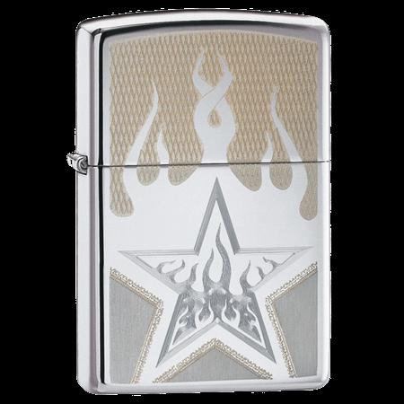 Широкая зажигалка Zippo Fire Star 21191 - фото 4876