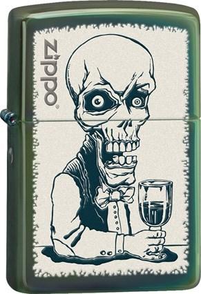 Широкая зажигалка Zippo Skeleton Bartender 28679 - фото 4961