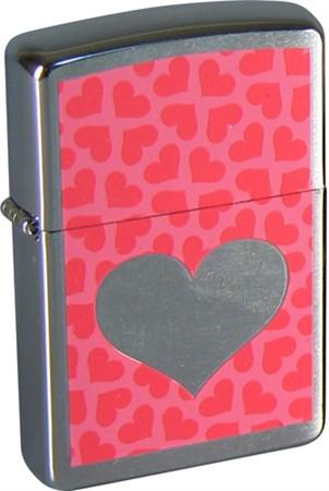 Широкая зажигалка Zippo Pink Hearts 200 - фото 5135