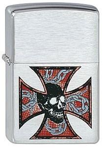 Широкая зажигалка Zippo Skull&Cross 200 - фото 5141