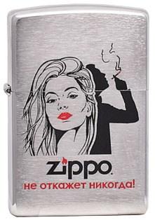 """Широкая зажигалка Zippo Лозунг 1 """"""""Не откажет никогда"""""""" 200 - фото 5195"""