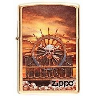 Широкая зажигалка Zippo Skull & Wheel 204 - фото 5221