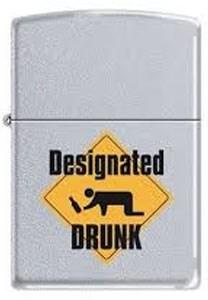 Широкая зажигалка Zippo Designated drunk 205 - фото 5239