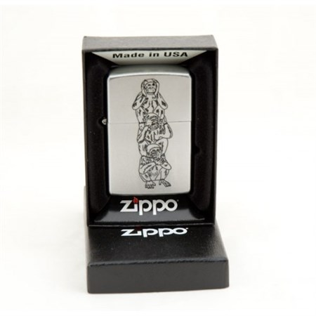 Широкая зажигалка Zippo Monkeys 205 - фото 5276
