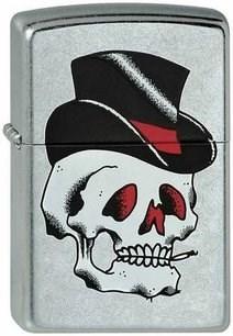 Широкая зажигалка Zippo Black Top Skull 212 - фото 5334