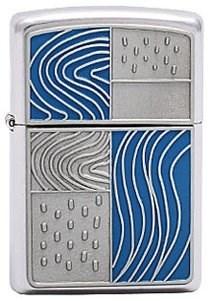 Широкая зажигалка Zippo Blue Emblem 213 - фото 5336