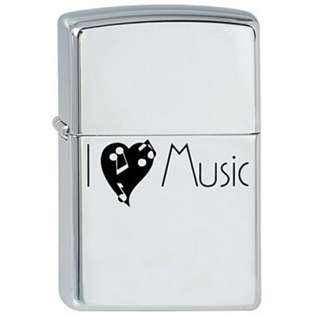 Широкая зажигалка Zippo I love music 221 - фото 5352