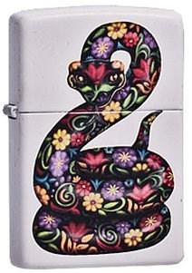 Широкая зажигалка Zippo Flowered Snake 214 - фото 5432