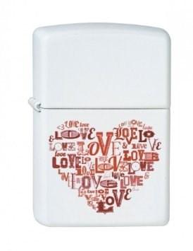 Широкая зажигалка Zippo Love heart 214 - фото 5442