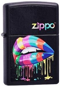 Широкая зажигалка Zippo Rainbow Lips 218 - фото 5494
