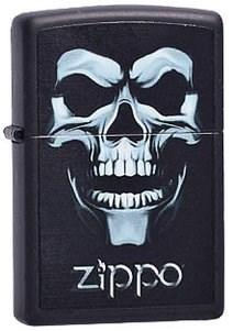 Широкая зажигалка Zippo Skull shadow 218 - фото 5506
