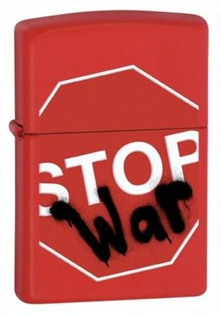 Широкая зажигалка Zippo Stop war 28140 - фото 5876