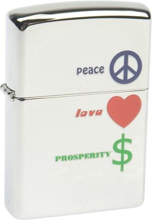 Широкая зажигалка Zippo Peace Love Prosperity 24714 - фото 6056