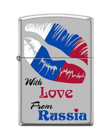 Широкая зажигалка Zippo WITH LOVE FROM RUSSIA 205 - фото 6550